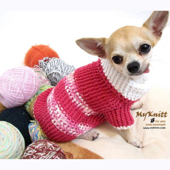 Pink sweater crochet Myknitt dog clothes chihuahua Pet by ...