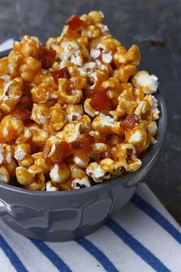 Spicy caramel bacon popcorn | Yummy Food | Pinterest