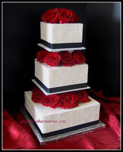 Square Black and White Wedding Cake | cakes & tables | Pinterest