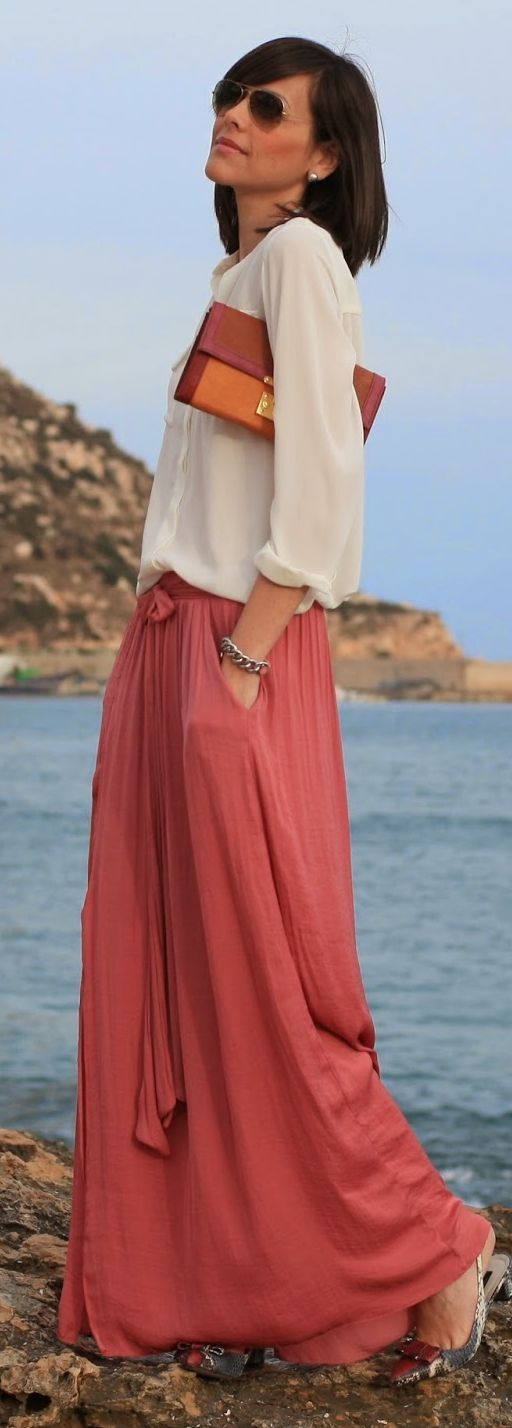 Zara Coral Front Bowknot Split Maxi Skirt by Be Trench