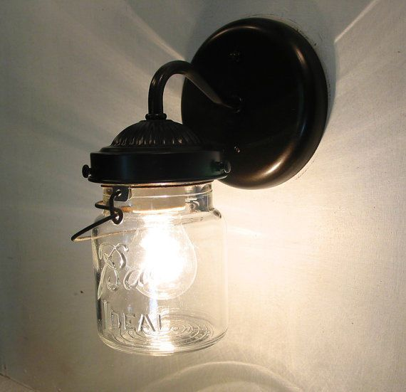 Wall Mounted Fruit Jar Lights : Sconce Light Mason Jar Bathroom Light Kitchen Wall Lamp Canning Vinta?
