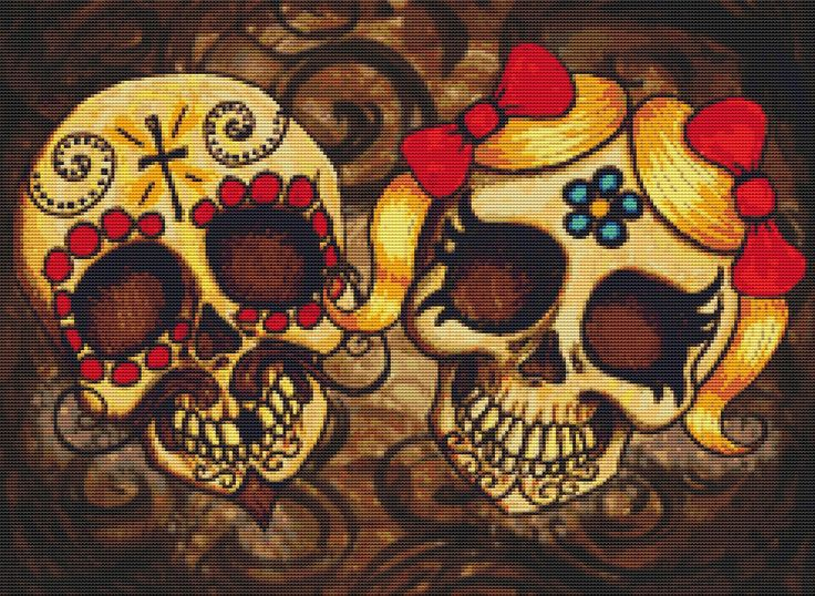 Day of the dead couple by shayne cross stitch kit for Day of the dead craft supplies