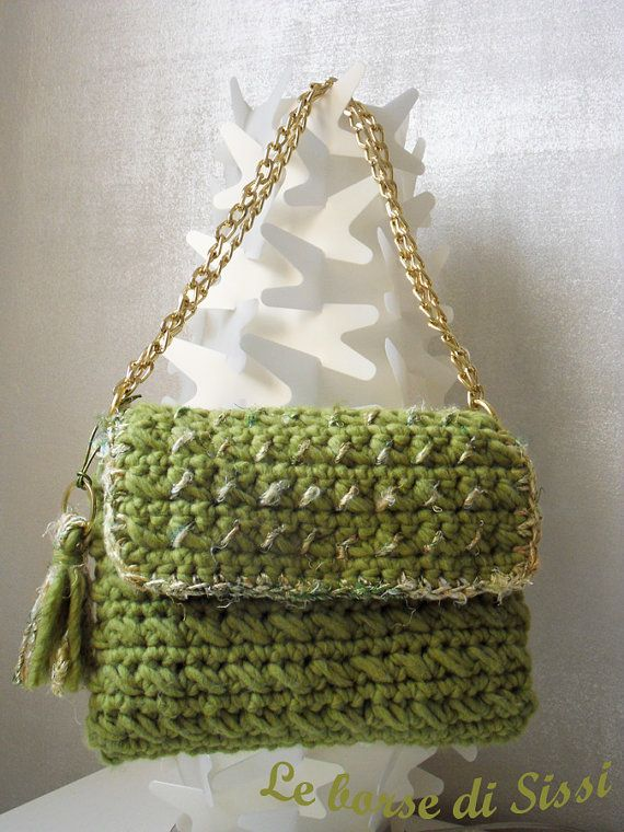Wool+crochet+bag+with+silk+details+by+LeBorseDiSissi+on+Etsy,+?54.00