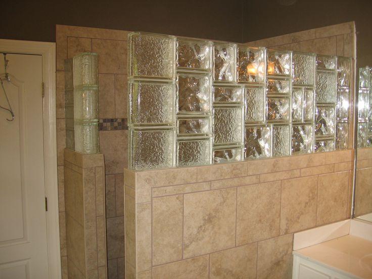 Glass block tile Shower wall Small bathroom decor