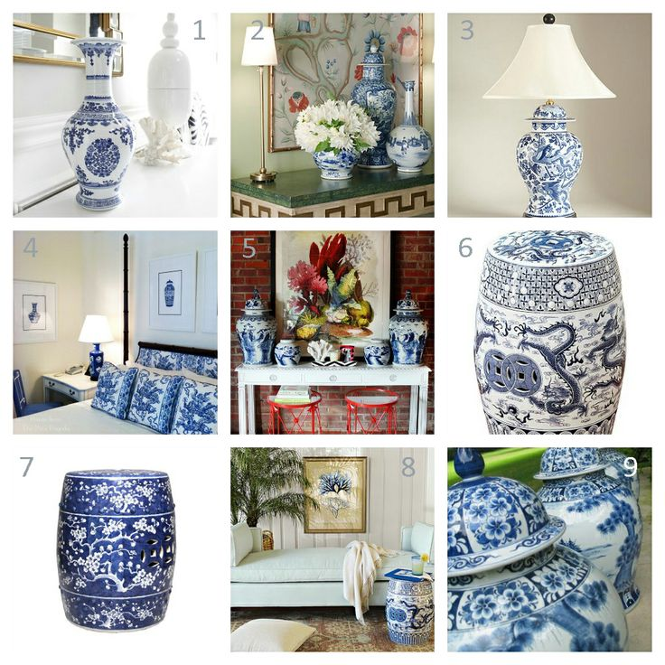 Chinoiserie blue white porcelain home decor blue for Decorating with blue and white pottery