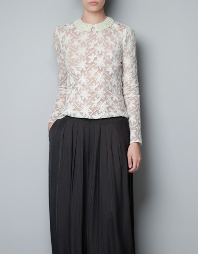 Zara Embroidered Tulle Blouse With Pearls Around Collar 18