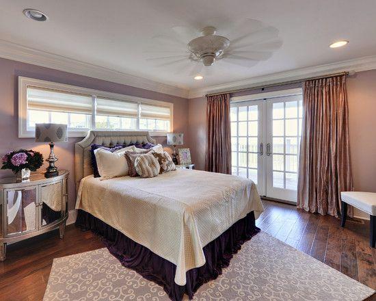 Decorating elegant master bedroom design with unique window above bed