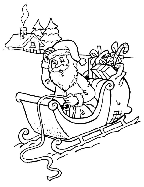 christmas sleigh coloring pages - photo#32