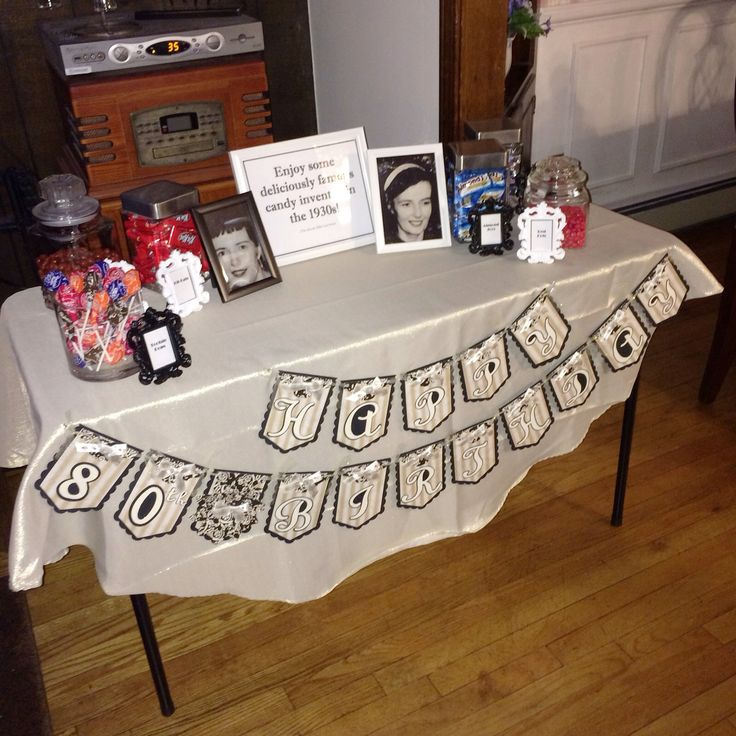Candy/memory table for 80th birthday party. Candy invented in the ...