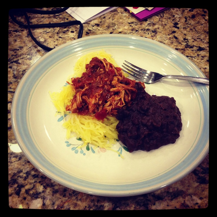 Cilantro Lime Chicken with Spaghetti Squash and black refried beans