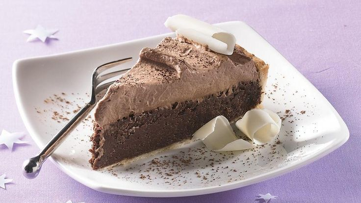 your chocolate fix with this eye-catching pie, with two flavored cream ...