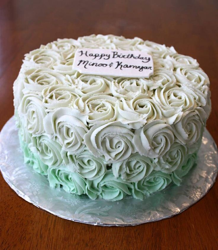 Green ombré rosette cake with plaque | My Cakes | Pinterest