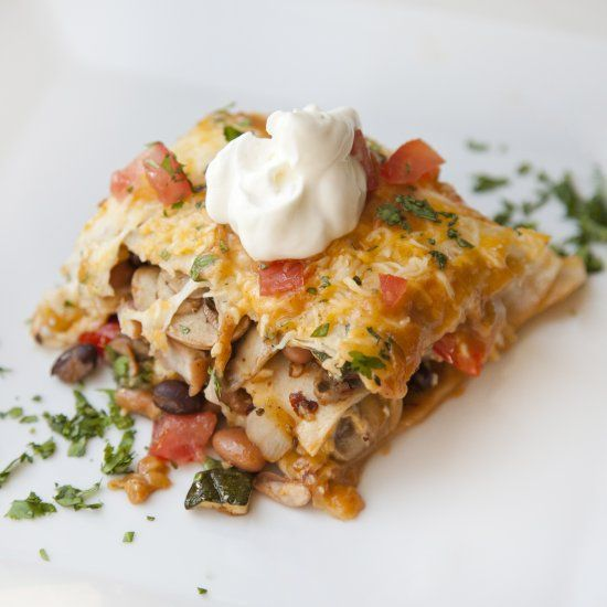 Enchiladas packed with Zucchini, Mushrooms, Bell Pepper, Beans and ...