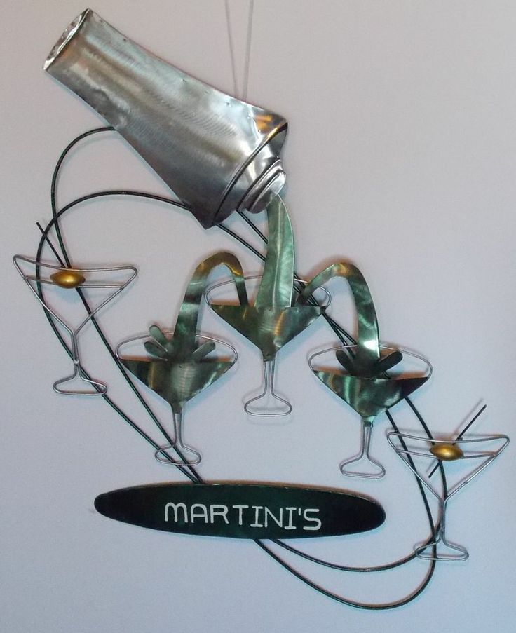 Martini 39 S Bar Sign Metal 3D Cocktail Shaker Glasses Martini Olive Wal
