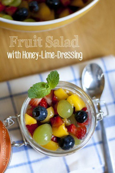 Fruit Salad with Honey-Lime-Dressing - My Little Gourmet