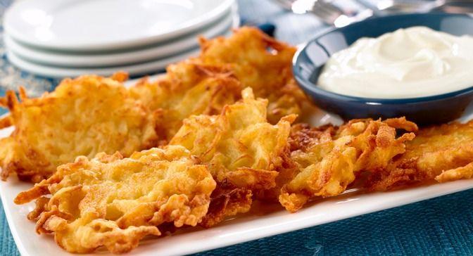 Potato latkes are crisp shredded potato pancakes, served with sour ...