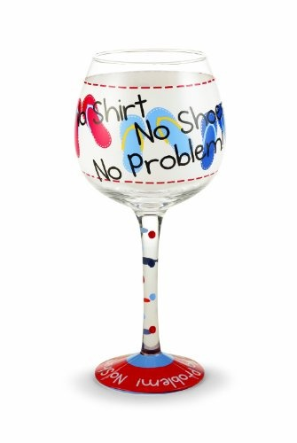 No shirt no shoes hand painted wine glass hand painted 16 ounce wine
