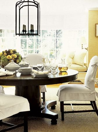 Gorgeous table!  I love round tables and I love this dining area