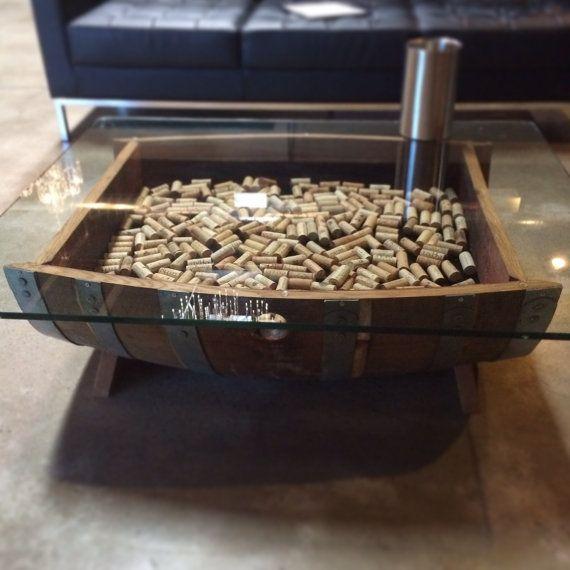 Wine Barrel Coffee Table Glass Top Cork Storage