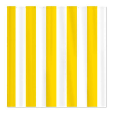 Vertical stripes yellow white shower curtain
