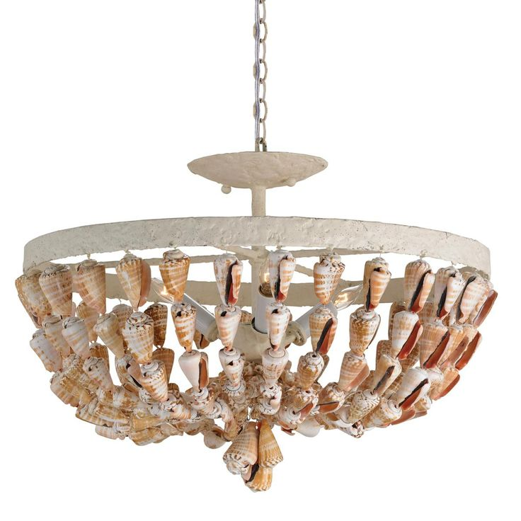 Bali cone shell basket ceiling light for Shell ceiling light fixtures