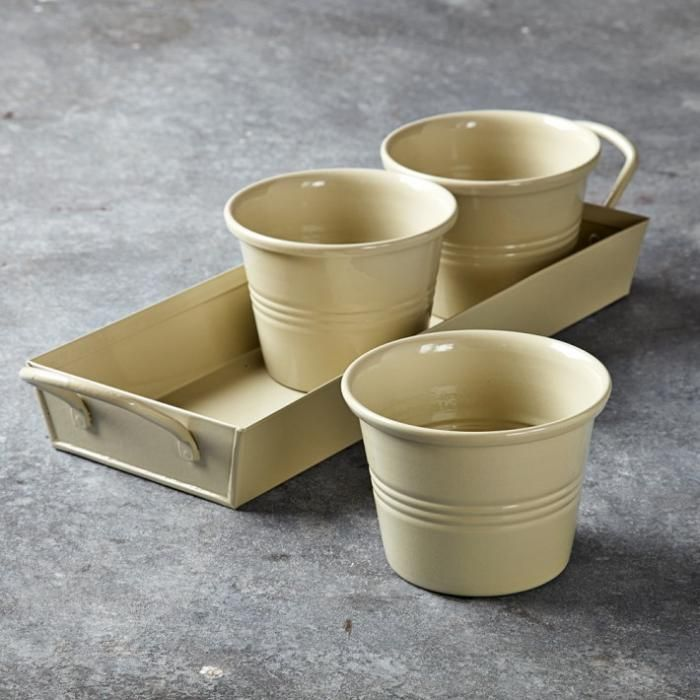Powder Coated Steel Herb Pots Eating Objects