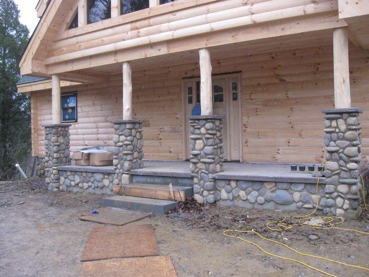 River rock porch with columns front porch decor pinterest for River rock columns