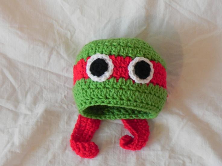 Ninja Turtle Crochet Baby Hat Pattern : Crocheted baby hat - Teenage Mutant Ninja Turtle (Raphel ...