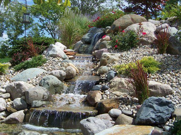 Pondless waterfall garden rocks boulders pinterest for Rock waterfall design