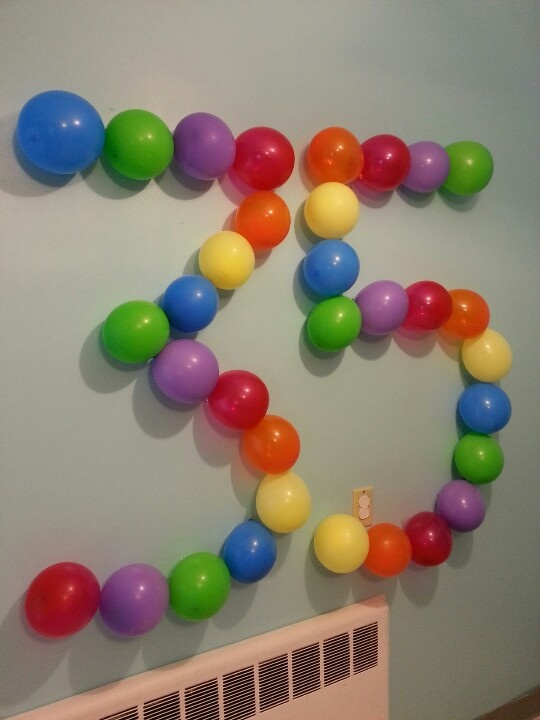 Balloon number.  Wall decor.  Birthday decoration.