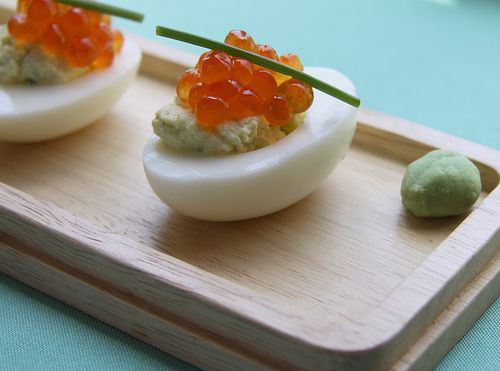Wasabi Deviled Eggs- I garnish with red and black caviar