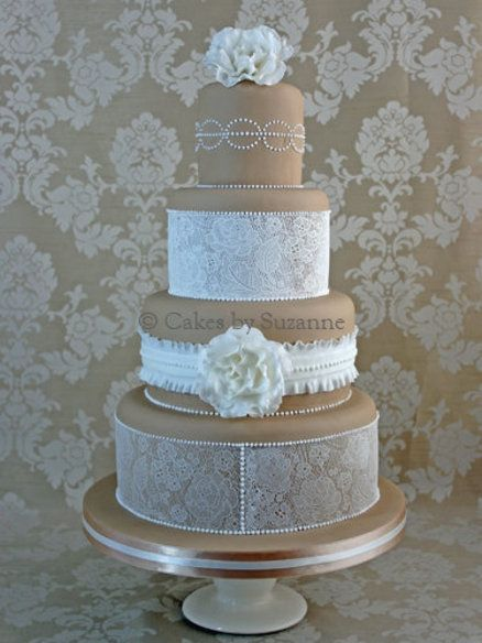 Lace and Ruffles Wedding Cake - by suzanne @ CakesDecor.com - cake decorating website
