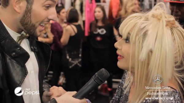 Micah chatting with Betsey Johnson on Day 5 of Mercedes-Benz Fashion Week!