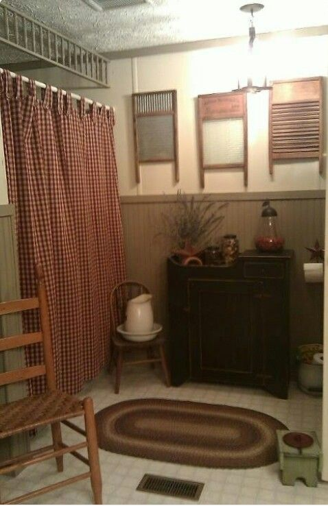 Cute primitive bath room primitives pinterest for Cute bathroom ideas decorating