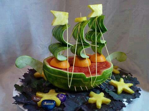 Watermelon boat   Party Ideas   Pinterest