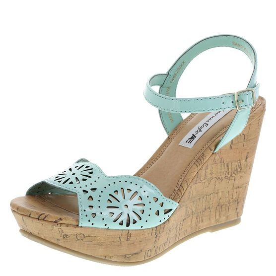 Women's Nicole Chopout High-Wedge Sling, Mint, White, Gold and Black
