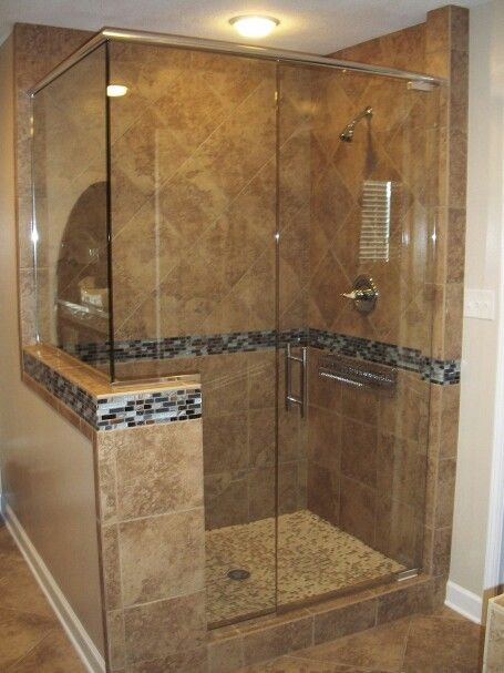 Custom Shower Diagonal Lay Top Straight Bottom Frameless Glass