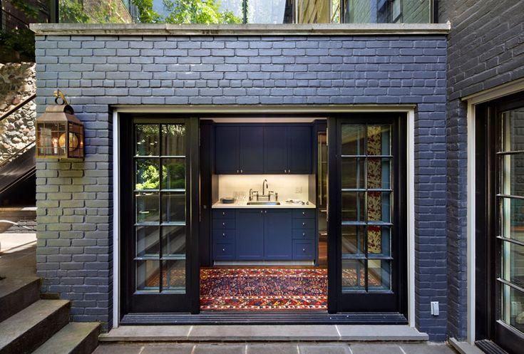 Painted navy brick origins pinterest - Painting exterior bricks paint ...