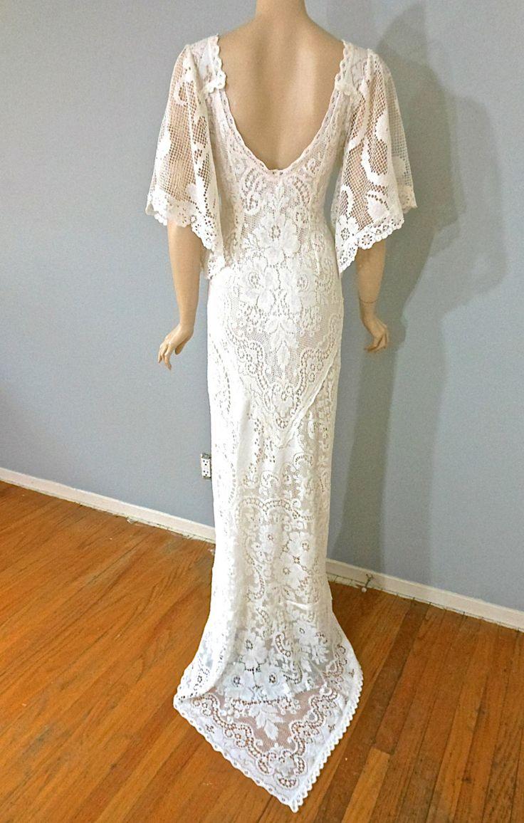 Boho wedding dress off white vintage lace wedding gown for White lace vintage wedding dress