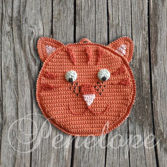 Orange Cat crochet  cat pot holder personalised by deepblue22at, £20.00