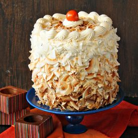 Monstrously tall carrot cake with coconut cream cheese swiss meringue ...