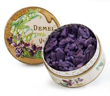 demel's violet blossom leaves candied in sugar