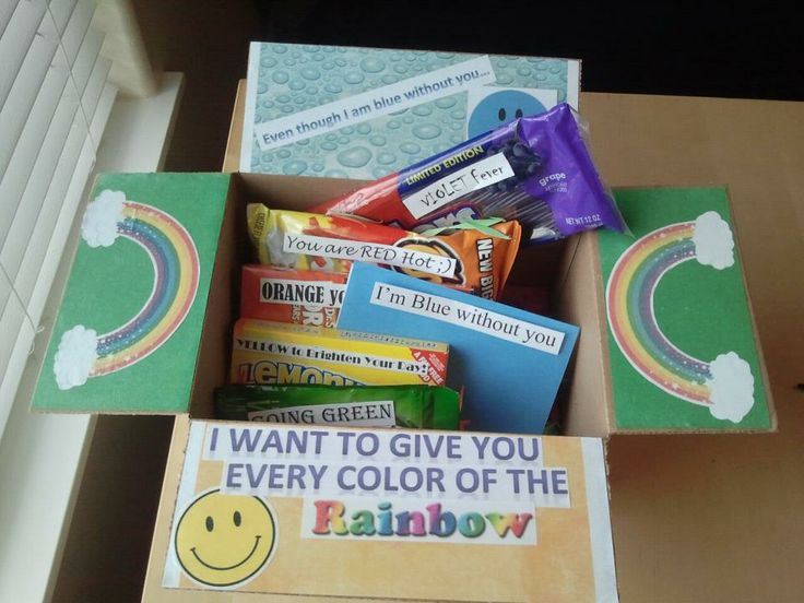 """Care packages are the best for the separation(: It says """"even though I am blue without you, I wanted to give you every color of the rainbow."""" I used modge podge to add printouts and words to the glued construction paper. Inside the box I had a gift for every color and confetti (made from a shredder) to fill the extra spaces. I love him<3"""