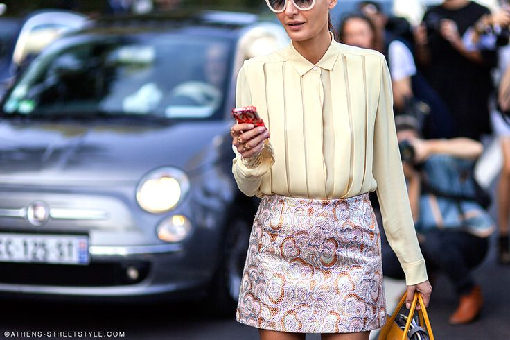skirt/shirt combo. Gio in Paris. #GiovannaBattaglia