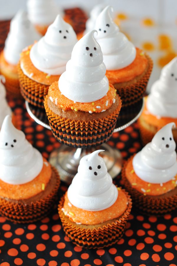 Gluten-Free Sweet Potato Cupcakes with Meringue Ghosts-- Perfect for Halloween!