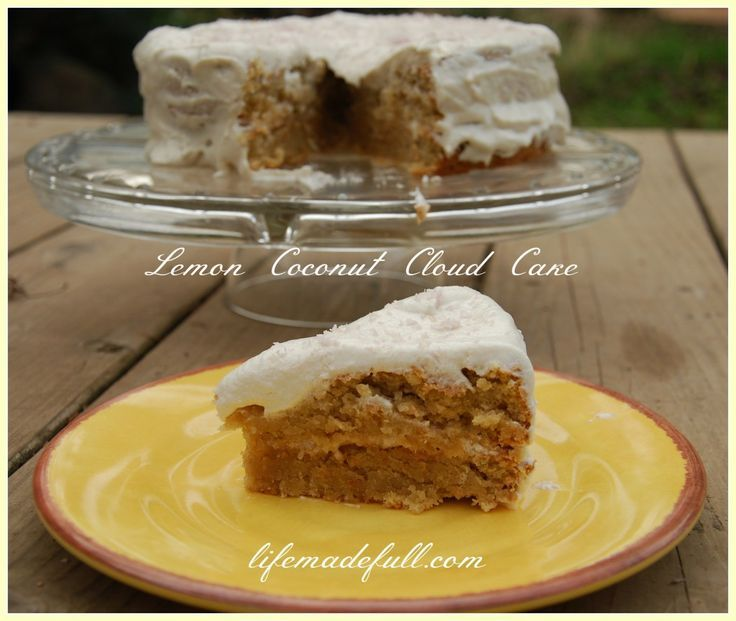 """Lemon Coconut Cloud Cake - Life Made Full.. THM…S dessert by swapping out the maple syrup for Susan Hitchcock's homemade truvia """"maple"""" syru..."""