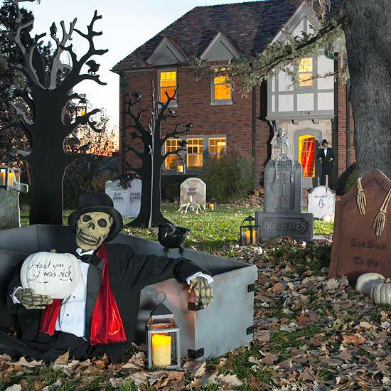 Haunted outdoor halloween decorations for Idee deco exterieur halloween