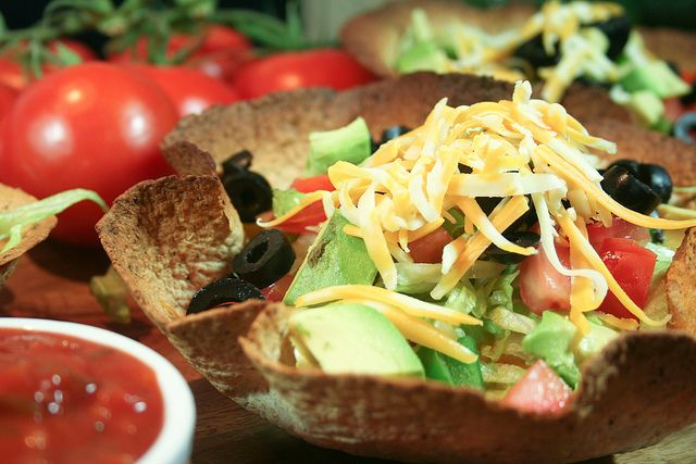 Taco Style Salad in a Tortilla Bowl...quick, healthy, and delicious