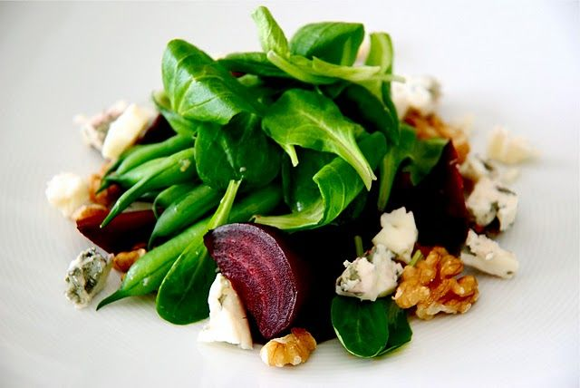 Roasted beet salad with mâche, blue cheese and toasted walnuts