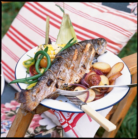 Herb-Stuffed Grilled Trout